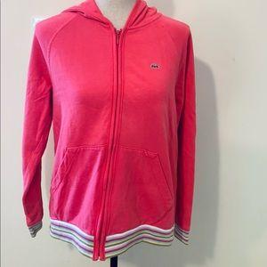 Lacoste Pink Zip Front Contrast Trim Hoodie sz L